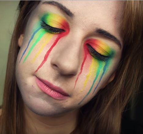 Simple Rainbow Tears Face Paint And Eye Makeup Check Out The Youtube Link To Watch The Tutorial Eye Makeup Makeup Face Paint