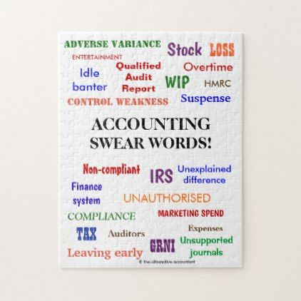 Accounting Swear Words Accountant Joke Jigsaw Puzzle - audit quotation
