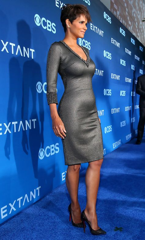 Halle Berry Cocktail Dress - This body-con gunmetal-gray Jenny Packham dress did an excellent job of showing off Halle Berry's phenomenal figure.