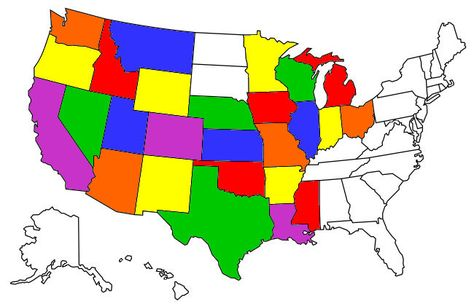Visited States Map | Us map | Map, State map, Places