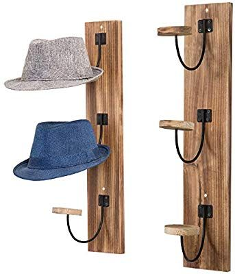Mygift Wall Mounted Rustic Burnt Wood Metal Wire Vertical Hat Racks Set Of 2 Wall Mounted Hat Rack Vertical Hat Rack Diy Hat Rack