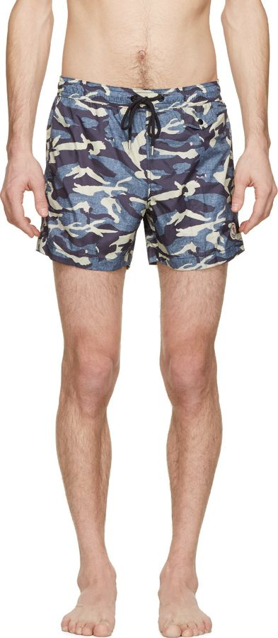 bdc036e3f Moncler Blue Camo Print Swim Shorts