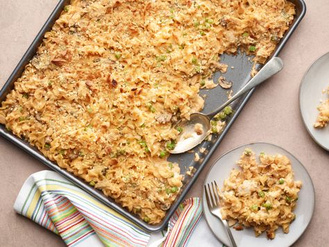 Recipe of the Day: Sheet Pan Tuna Noodle Casserole | When you bake tuna noodle casserole on a sheet tray, you get the best of both worlds: a creamy, cheesy filling and a crispy, crunchy top.