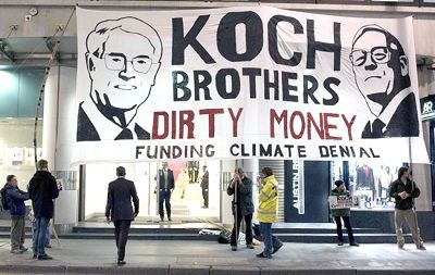 Koch Brothers Continue to Oil the Machine of Climate Change Denial | Brothers Charles and David Koch run Koch Industries, the second-largest privately owned company in the U.S., behind Cargill. They've given close to US$70 million to climate change denial front groups, some of which they helped start, including Americans for Prosperity, founded by David Koch and a major force behind the Tea Party movement.