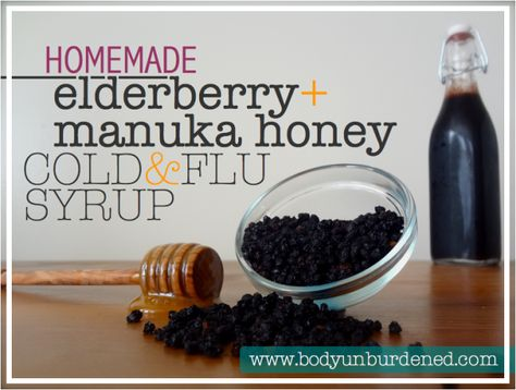 elderberry & manuka honey cold and flu syrup helps to boost immune function to keep sickness away, and can also help you recover from a cold or the flu more quickly! And it's totally out-of-this-world delish, to boot. Health, nutrition, natural remedy.