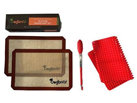 Ooganix Silicone Baking Mat Set 2 Half Sheets 1 Pyramid Square Design Pan Sheet 1 Bbq Tong Red Professional Non Bakeware Set Hearing Protection Earplugs