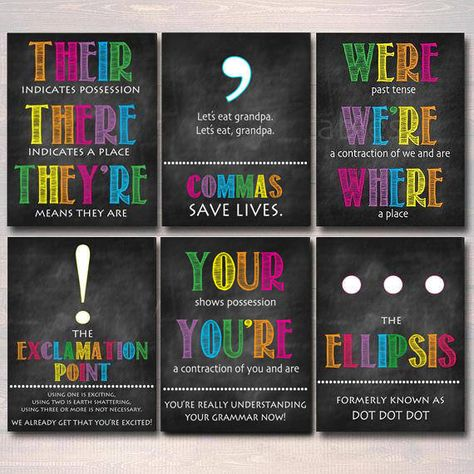 Read the full title Set of 8 English Grammar Punctuation Posters, Classroom Grammar Art INSTANT DOWNLOAD Classroom Decor, High School English Teacher Printables