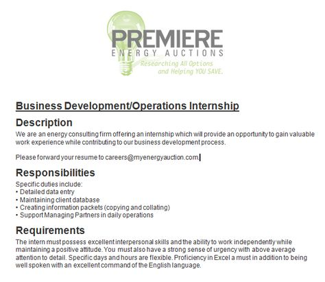 Business Development Operations Internship- Fall 2014! Please - business development resumes