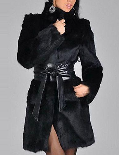 52.49] Γυναικεία Χειμώνας Όρθιος Γιακάς Γούνινο παλτό Μακρύ