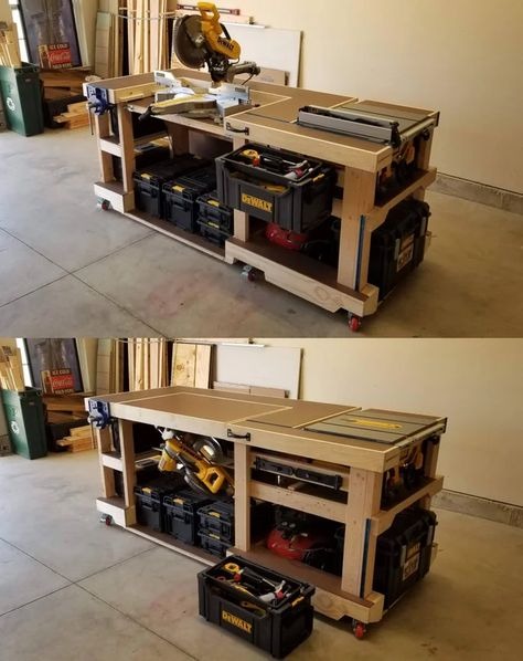 I built this convertible saw station/modular workbench. The miter saw rotates beneath the top surface to make room for the table saw out-feed and/or additional work space. Garage Workbench Plans, Table Saw Workbench, Mobile Workbench, Diy Workbench, Woodworking Bench Plans, Woodworking Projects Diy, Diy Wood Projects, Home Projects, Woodworking Techniques