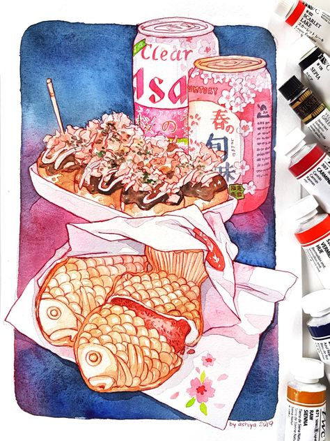 Since it's a sakura season here's some Japanese street food for the next illustration in the HUNGRY series! Japanese Food Art, Japanese Street Food, Cute Food Art, Cute Art, Dessert Illustration, Illustration Art, Watercolor Food, Japan Watercolor, Cute Food Drawings