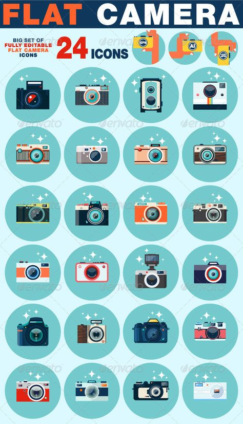 Buy Photo Camera Icons Set in Flat Style by karnoff on GraphicRiver. Photo camera icons set in flat style. Flat design vector stylish illustration with modern colors.