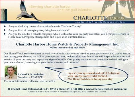 Are you looking for a reliable Home Watch / Vacation Rental Service for your house in Charlotte County Florida?