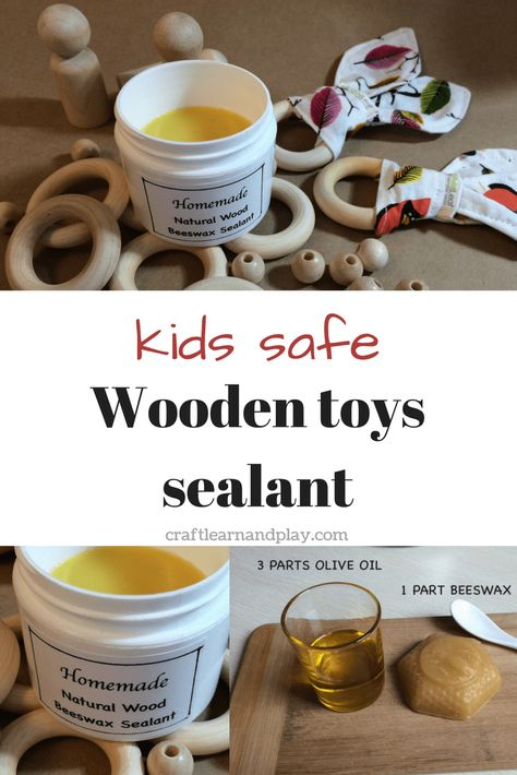 Easy to make, kids safe, beeswax sealant for wooden toys. I love the idea that i… - Kids&Baby Toys Wood Kids Toys, Wood Toys Plans, Wooden Baby Toys, Kids Wood, Diy Wooden Toys For Toddlers, Diy Kid Toys, Making Wooden Toys, Children Toys, Woodworking Toys