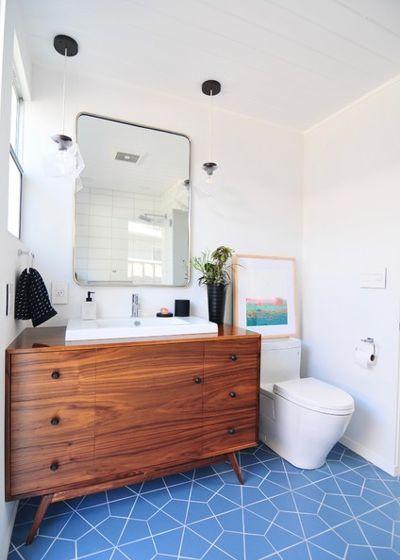 Midcentury Bathroom By Urbanism Designs Blue Bathroom Black