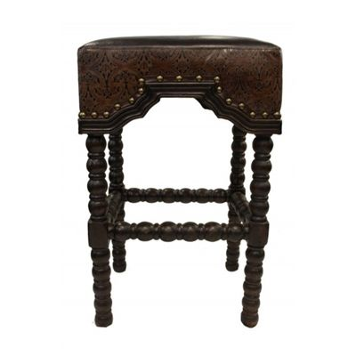 Peachy Arabella Dark Embossed Leather Old World Bar Stool Shop Dailytribune Chair Design For Home Dailytribuneorg