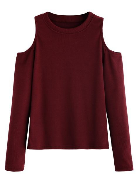 Shop Burgundy Open Shoulder Knitted T-shirt online. SheIn offers Burgundy Open Shoulder Knitted T-shirt & more to fit your fashionable needs.
