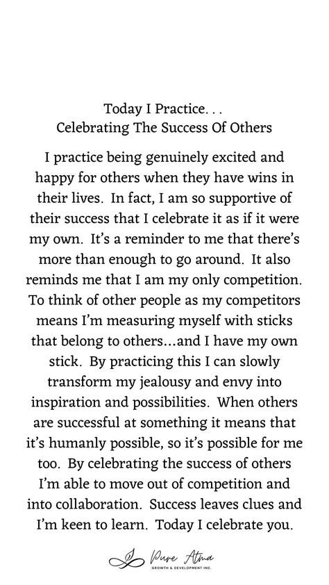 "Have you found that #affirmations don't really work for you? I had the same challenge. Try this #lifestrategy instead; it's called ""I Practice"". Practicing something helps you build #strength and #resilience and long-lasting #mindhabits. This week's life strategy is ""Celebrating The Success Of Others""."