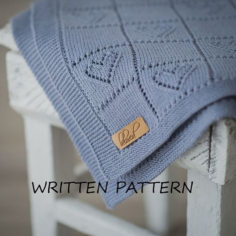 Cable Knit Baby Blanket Pdf Pattern In English Knitted Baby