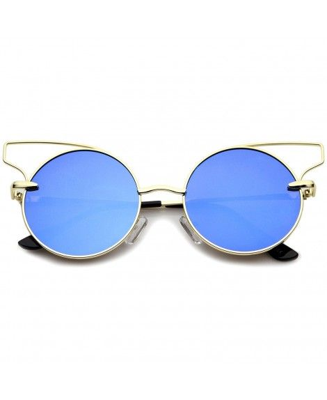 Women S Wire Open Metal Frame Color Mirror Flat Lens Round Cat Eye Sunglasses 52mm Gold Blue Mirror Co12kcnphop Cat Eye Sunglasses Sunglasses Blue Mirrors