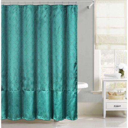 Home Teal Shower Curtains Fabric Shower Curtains Mermaid