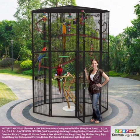 Diameter Indoor/Outdoor Aviary - A great enclosure for large parrots. Give your avian friends a safe outdoor place to exercise and enjoy the sunshine.