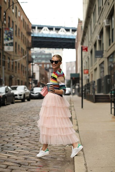 Blair wearing her favorite Gucci striped sweater back to the pink tulle skirt from her collection // Atlantic-Pacific x Halogen hits Nordstrom on October