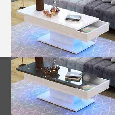 Modern High Gloss Coffee Tea Table With White Black Pushable Top To Storage Ebay Coffee Table White Black Living Room Table Coffee Table