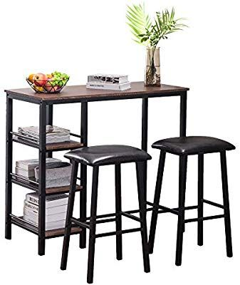 Amazon Com Eblse Dining Table Set Breakfast Bistro Pub Pvc Wood Grain Three Layer Frame Couple Bar Table Sof In 2020 Kitchen Table Settings Bar Table Bar Table Sets