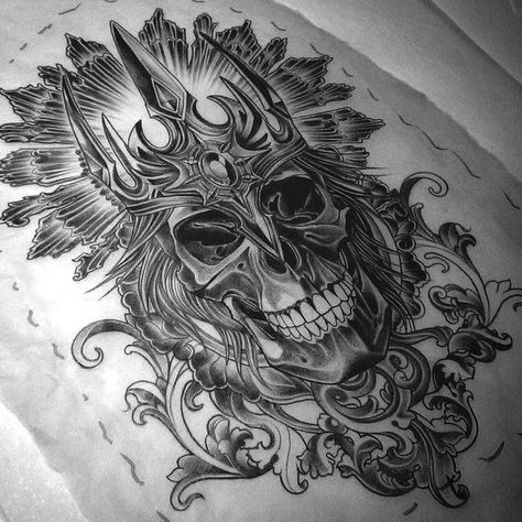 Sugar Skull And Clock Tattoo Design photo - 4