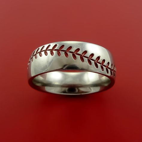 Titanium Baseball Ring with Red Stitching Fan Band Any Size and Color Red. Green, Blue, Black Inlay