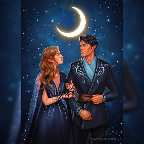The High Lady and The High Lord of the Night Court 🌙 Feyre & Rhys, for @rosemarycreations_ 💙 So glad I got to finally paint them together!…