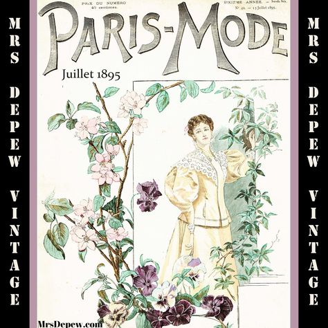 1890s Antique French Magazine Paris Mode July 1895 Fashion and Sewing E-book Copy - INSTANT DOWNLOAD