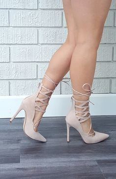 - Available in Black and Nude - Pointed Toe - Lace Up - Faux Suede - Zipper Closure - 4 inch heel High Heels Crossing Paths Heel - Nude
