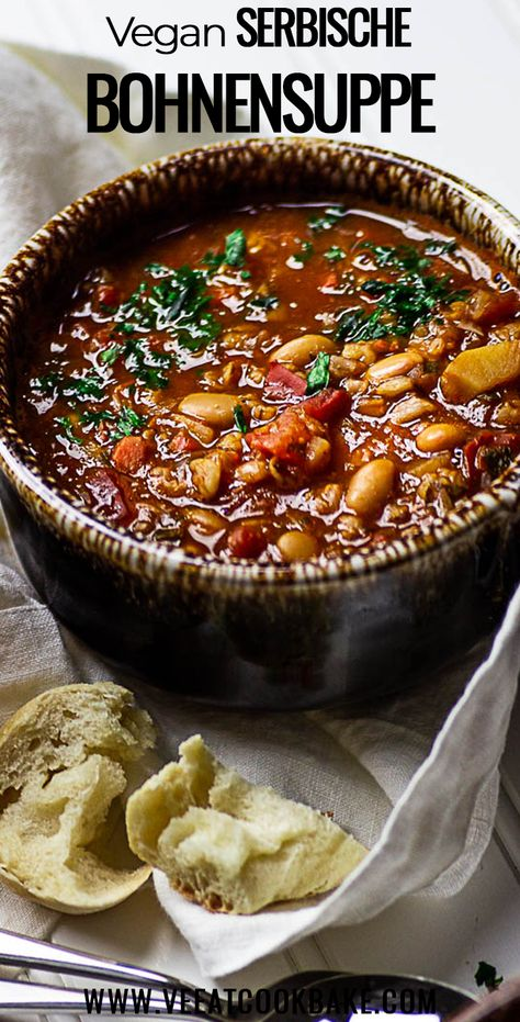 Authentic Vegan Serbian bean soup is made from white beans, a minced meat alternative such as freekeh or TVP. And is super quick on your table for dinner.