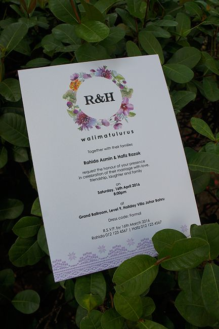 A Purple Flowers With Batik Graphics Malay Wedding Invitation Invitations Wedding Invitations Wedding Invitation Design