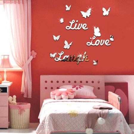 3D Live Love Laugh Butterfly Acrylic Mirror Wall Sticker Decoration Wall Decals DIY-silver