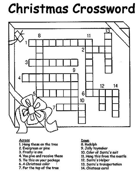 picture about Holiday Crossword Puzzles Printable identified as Pin upon x-mas pajama occasion