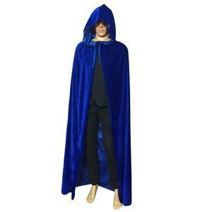 Fashion Men Velvet Hooded Cloak Long Robe Halloween Witchcraft Cosplay Costume