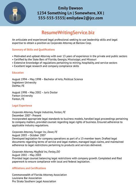 Professional Resume Writing Services Massachusetts Job Seekers   Corporate  Attorney Resume  Corporate Attorney Resume