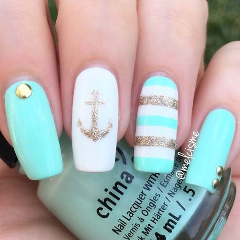 Nail Decal/ Nail Stencils Nautical nails by for Father's Day! Melissa is using our Anchor Nail Stencils found at: Nautical nails by for Father's Day! Melissa is using our Anchor Nail Stencils found at: Cute Acrylic Nails, Cute Nail Art, Cute Nails, Pretty Nails, Acrylic Gel, Nautical Nail Art, Beach Nail Art, Anchor Nails, Nail Stencils