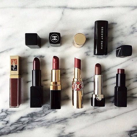 A change in season is the perfect excuse for new cosmetics. Fall lipstick hues. Flat lay including YSL, Chanel, NARS, Marc Jacobs. || Shop the look here: shopstyle.it/dxmqq