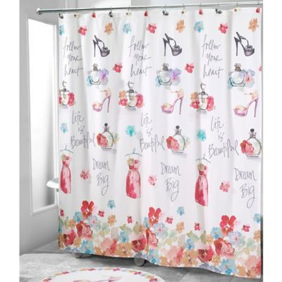 The Avanti Dream Big Shower Curtain Features A Positively Playful Girlish Design With Dresses Perfume Bottle Big Shower Fabric Shower Curtains Shower Curtain