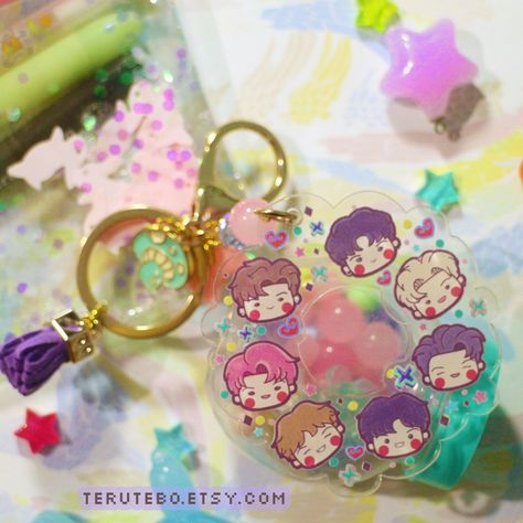 """""""Special MONSTA X acrylic keychains that's perfect to be your \""""cute little friend\"""" Instant cute for your phone or bag charms..! ♡ Double-sided acrylic ♡ +/- 11 cm lenght ♡ Gold lobster clasp ♡ Random charms & tassel color, don't worry I will choose the cute ones^^ ♥ Follow Teru Tebo on instagram ♥ instagram.com/terutebo ** About delivery ** The package will be shipped with airmail with tracking number^^"""""""
