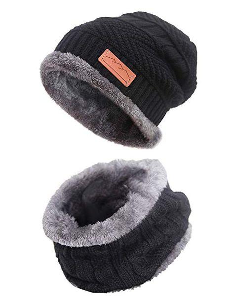 d6ebc17292823 Men Beanie Hat Scarf Set Warm Knit Skull Cap for Winter by MissShorthair  (8black