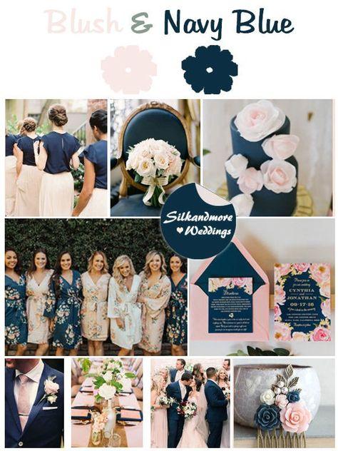 Blush and Navy Blue Wedding Color Bridesmaids Robes - Premium Soft Rayon - Wider Belt and Lapels - Wider Kimono sleeves - Wedding ♡ - Wedding