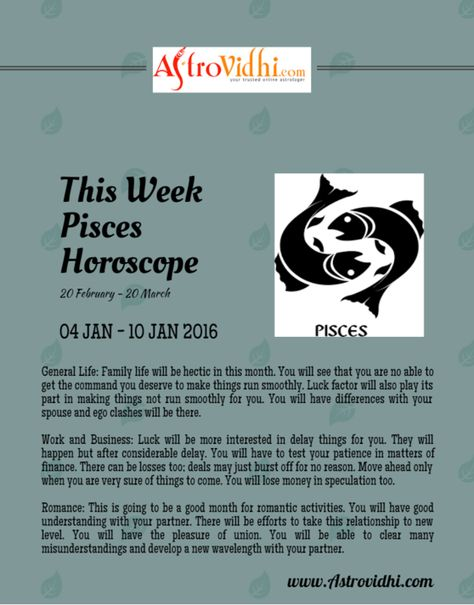 pisces january 20 weekly horoscope