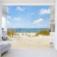 Schiebegardinen Set Strand An Der Nordsee 4 Flachenvorhange Schiebegardine Schiebegardinen Set Und Gardinen