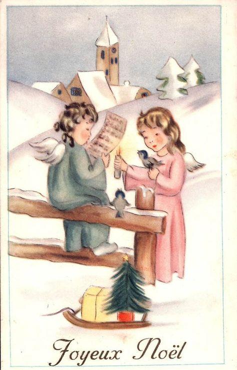 Vintage Postcard Joyeux Noel French Merry Christmas Greetings Angels Bird Carte Postale 1955 Noel French Merry Christmas Greetings Christmas Greetings