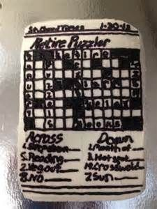 Retirement crossword puzzle cake